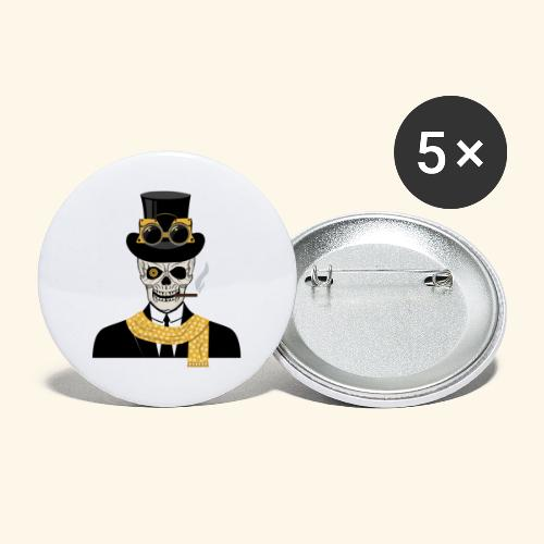 Skull with Suit and Scarf - Buttons large 2.2''/56 mm(5-pack)