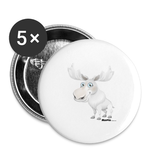 Albino Elch - Buttons groß 56 mm (5er Pack)