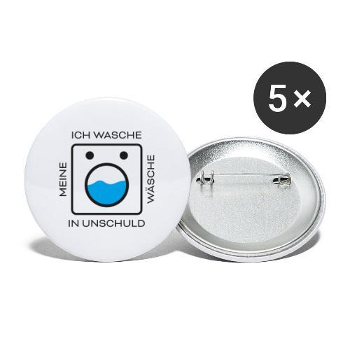 Wäsche Waschen - Buttons groß 56 mm (5er Pack)