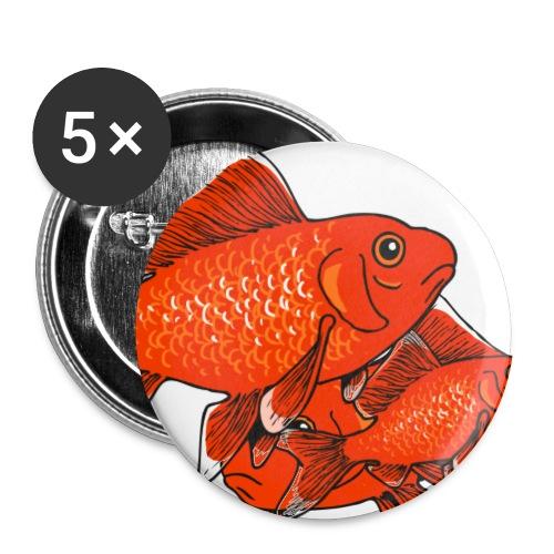 Poissons rouges - Lot de 5 grands badges (56 mm)