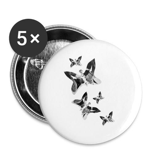 Schmetterlinge - Buttons groß 56 mm (5er Pack)