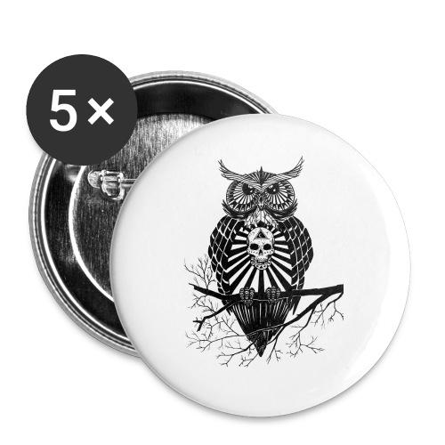 Hibou Psychédélique - Lot de 5 grands badges (56 mm)