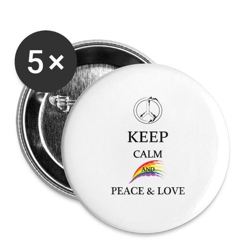 keep calm and Peace & Lov - Confezione da 5 spille grandi (56 mm)