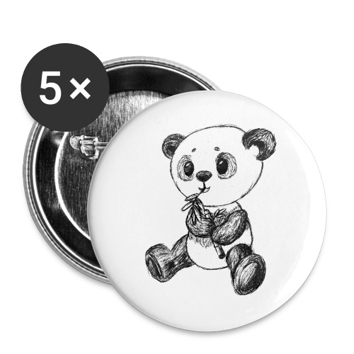Panda Bär schwarz scribblesirii - Buttons groß 56 mm (5er Pack)
