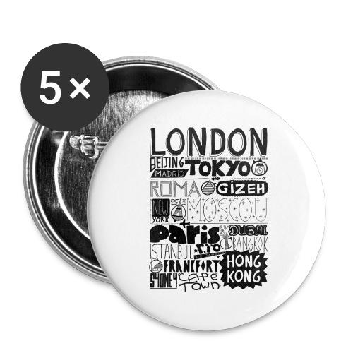 Villes du monde - Lot de 5 grands badges (56 mm)