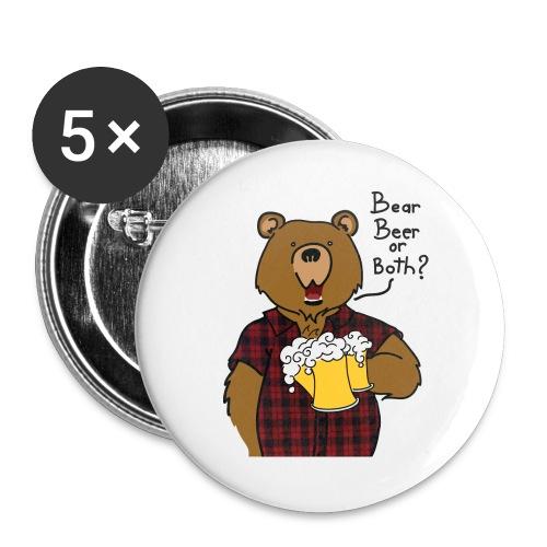 Beer and Bear - Lot de 5 grands badges (56 mm)