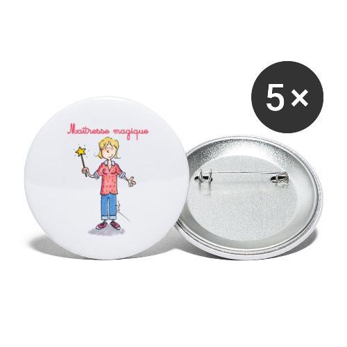 Danger ecole maîtresse magique [mp] - Lot de 5 grands badges (56 mm)