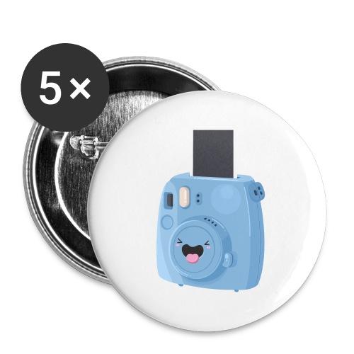Appareil photo instantané bleu - Lot de 5 grands badges (56 mm)