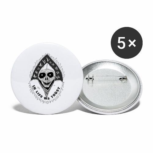 Grimp reaper with text IN LIFE WE TRUST b&w - Lot de 5 grands badges (56 mm)