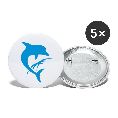 AquaSoft-Logo (Delfin) - Buttons groß 56 mm (5er Pack)
