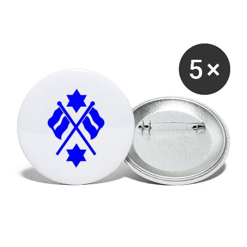 crossed flag blue - Buttons large 2.2''/56 mm(5-pack)
