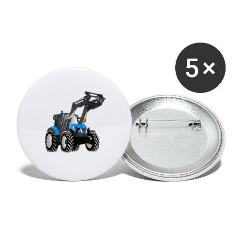 Blauer Traktor mit Frontlader - Buttons groß 56 mm (5er Pack)