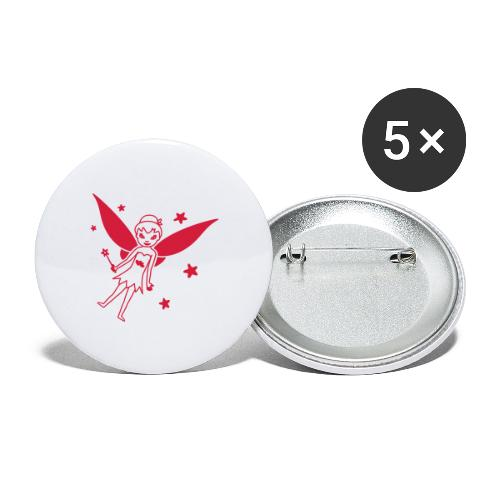 Motif Fée - Lot de 5 grands badges (56 mm)