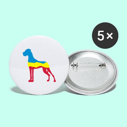 Flaggen Dogge - Buttons groß 56 mm (5er Pack)