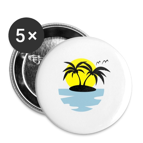 Island, Sun and Sea - Buttons large 2.2''/56 mm(5-pack)