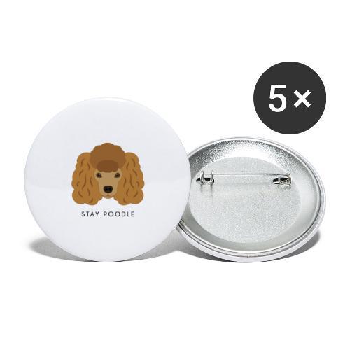 Poodle Brown - Confezione da 5 spille grandi (56 mm)