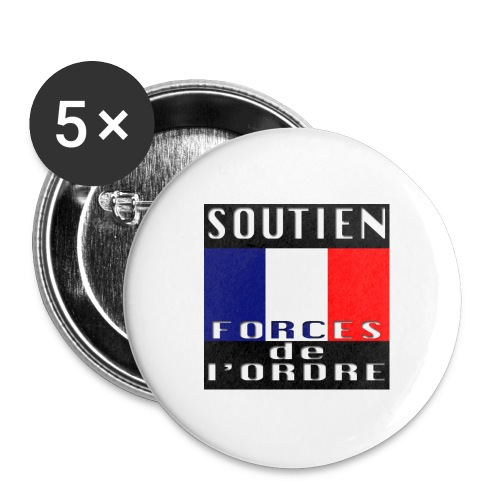 Soutien aux Forces de l'Ordre - Lot de 5 grands badges (56 mm)