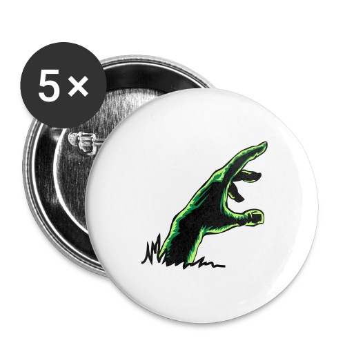 main_zombie - Lot de 5 grands badges (56 mm)