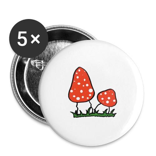 Fliegenpilz - Buttons groß 56 mm (5er Pack)