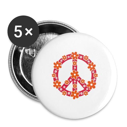 Peace Frieden Symbol Hippie Sommer Freiheit Liebe - Buttons groß 56 mm (5er Pack)