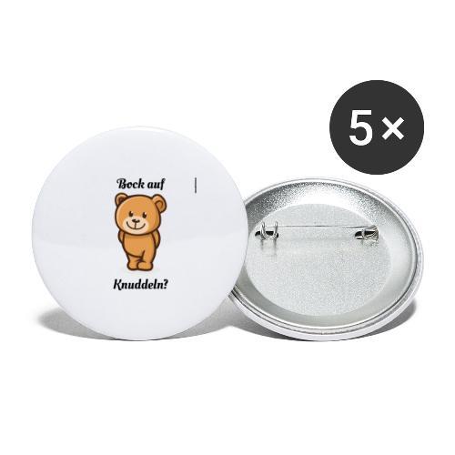 Teddy-Bär: Bock auf Knuddeln - black on white - Buttons groß 56 mm (5er Pack)