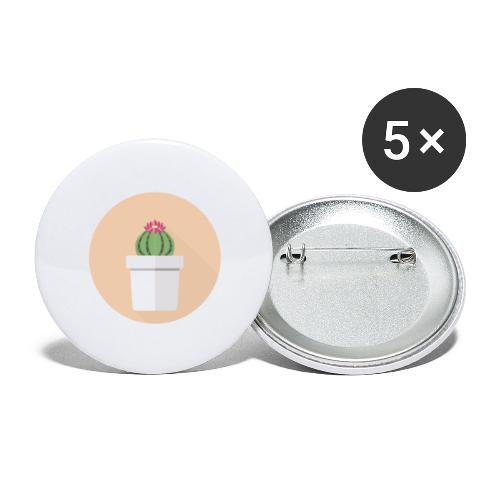 Flat Cactus Flower Potted Plant Motif - Buttons large 2.2''/56 mm (5-pack)