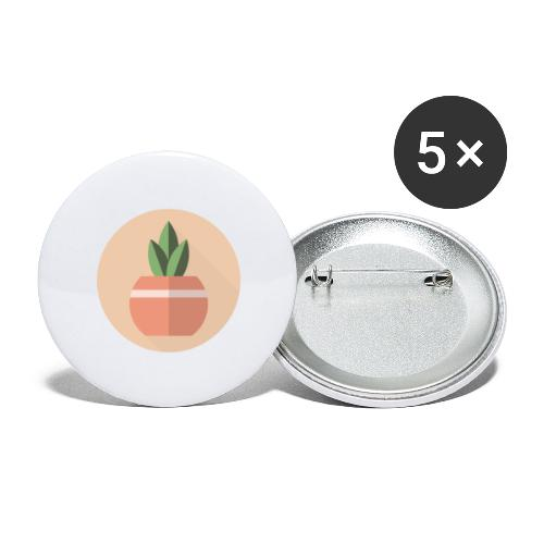 Flat 3 Leaf Potted Plant Motif Round - Buttons large 2.2''/56 mm (5-pack)