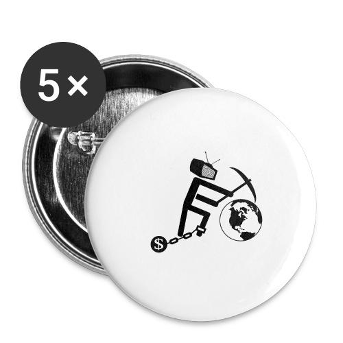 Konsum zerstört die Welt (schwarz) - Buttons groß 56 mm (5er Pack)