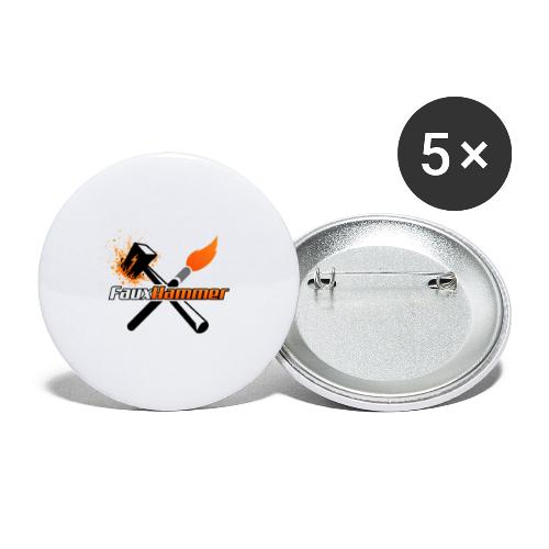 FauxHammer Logo Black Square - Buttons large 2.2''/56 mm(5-pack)