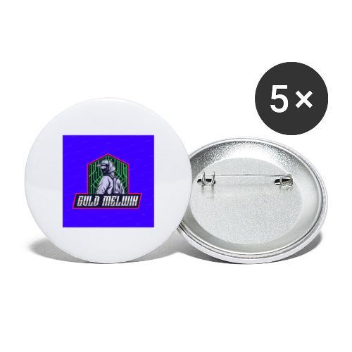 Guld Melwin - Stora knappar 56 mm (5-pack)