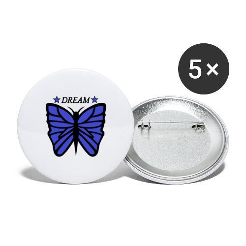 Motiv på en fjäril med ordet dream över. - Stora knappar 56 mm (5-pack)