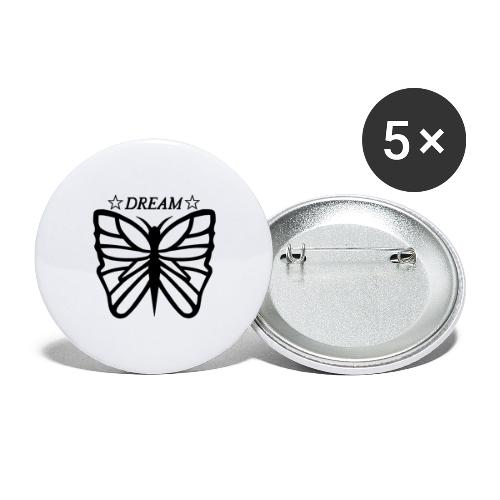 Ett motiv föreställandes en fjäril. - Stora knappar 56 mm (5-pack)