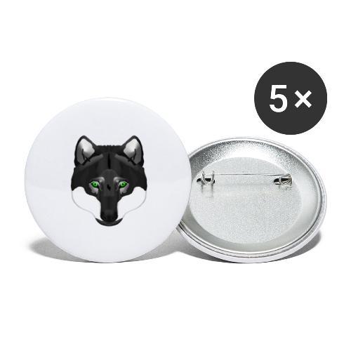 Wolf Head - Buttons groß 56 mm (5er Pack)