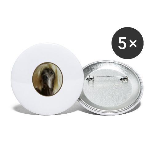 D O G G E mit Perücke - Buttons groß 56 mm (5er Pack)