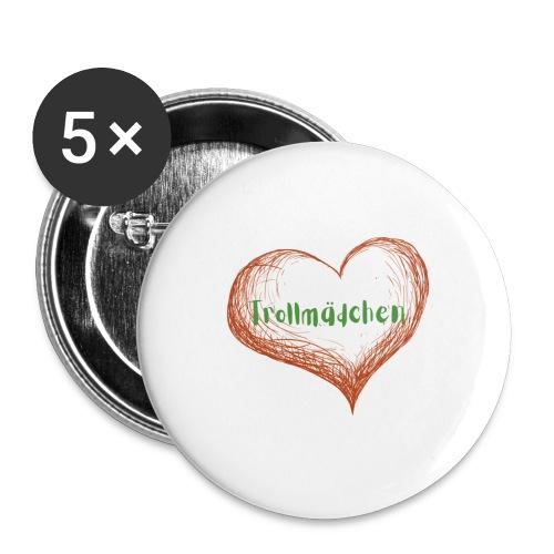 Trollmädchen - Buttons groß 56 mm (5er Pack)
