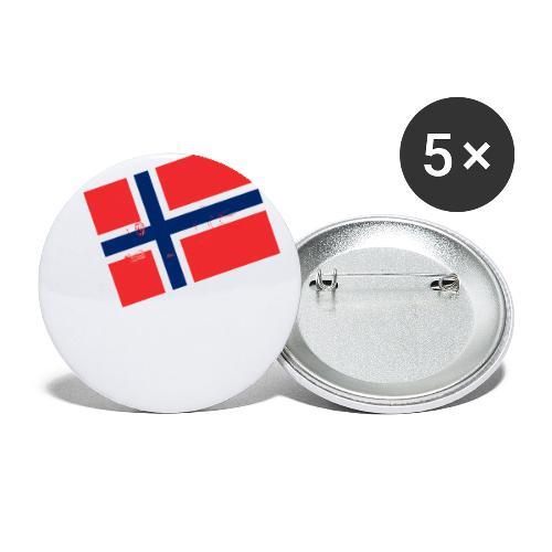 Norwegen Flagge - Buttons groß 56 mm (5er Pack)