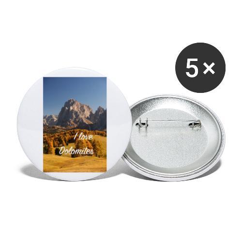 Langkofel - Wahrzeichen Südtirols - Buttons groß 56 mm (5er Pack)