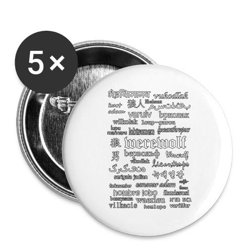 Werewolf in 33 Languages (Black Version) - Przypinka duża 56 mm (pakiet 5 szt.)
