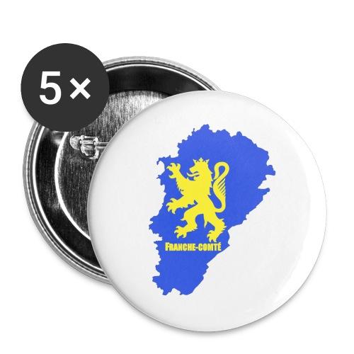 Carte Franche-Comté + lion - Lot de 5 grands badges (56 mm)