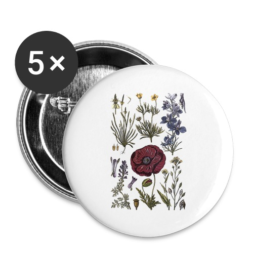 Wild flowers - Buttons large 2.2''/56 mm(5-pack)