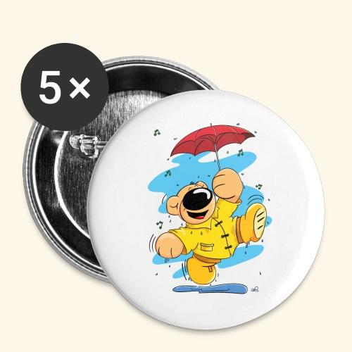 Der Bär tanzt im Regen - Buttons groß 56 mm (5er Pack)