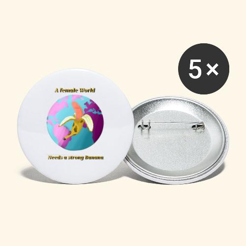 Banane vor Weltkugel - Buttons large 2.2''/56 mm(5-pack)
