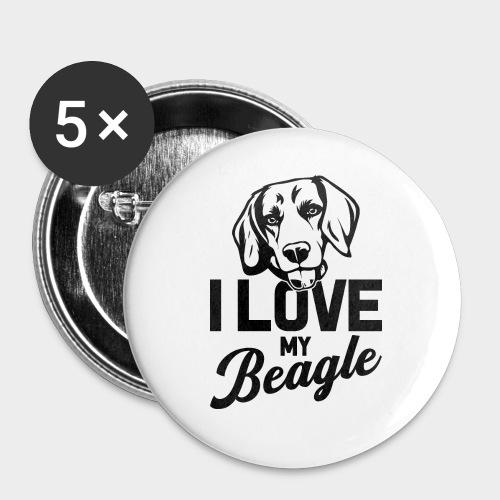 I LOVE MY BEAGLE - Buttons groß 56 mm (5er Pack)
