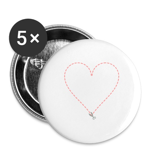 Coeur à découper - Lot de 5 grands badges (56 mm)