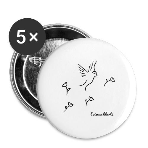 L'oiseau liberté (version dark) - Lot de 5 grands badges (56 mm)