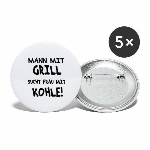 Mann mit Grill - Buttons groß 56 mm (5er Pack)