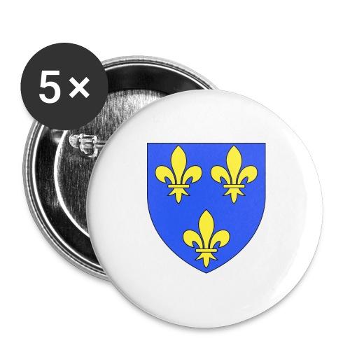Blason royal 3 fleurs de Lys - Lot de 5 grands badges (56 mm)