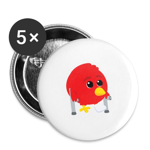 Oiseau rouge blessé - Lot de 5 grands badges (56 mm)