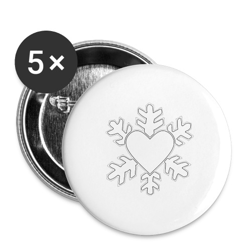 Flocon coeur 3D - Lot de 5 grands badges (56 mm)
