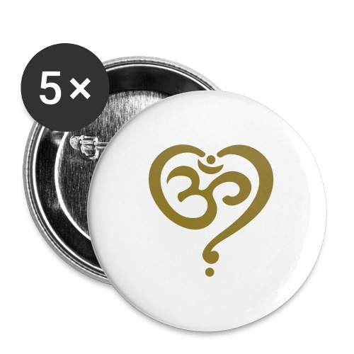 OM Symbol Herz Yoga Liebe Spiritualität Meditation - Buttons groß 56 mm (5er Pack)